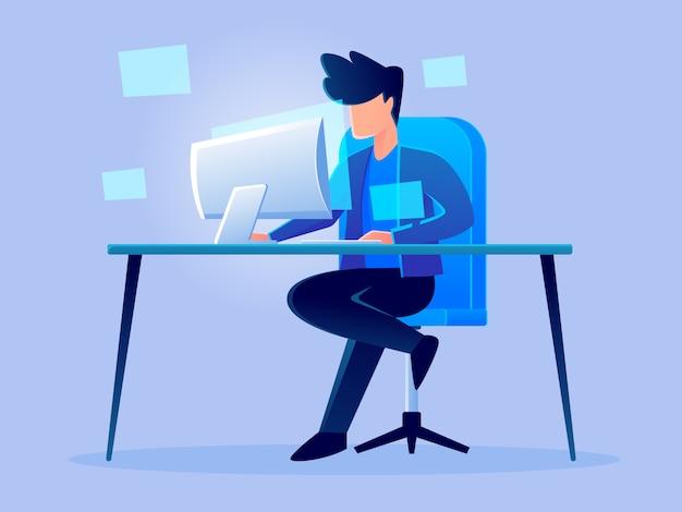 Hologramme analytique futuriste numérique travaillant illustration de conception caractère caractère Vecteur Premium