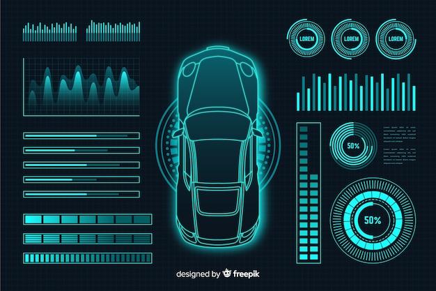 Hologramme futuriste d'une voiture Vecteur gratuit