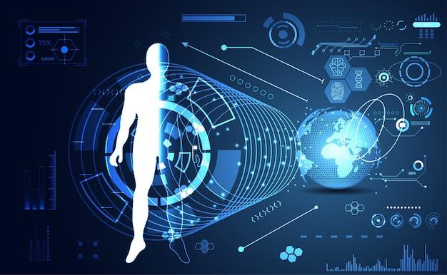 Hologramme humain Vecteur Premium