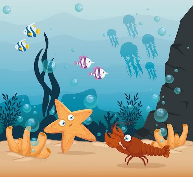 Homard Et Animaux Marins Dans L'océan, Habitants Du Monde Marin, Créatures Sous-marines Mignonnes, Faune Sous-marine Vecteur Premium