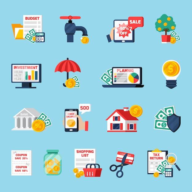 Home budget icons set Vecteur gratuit