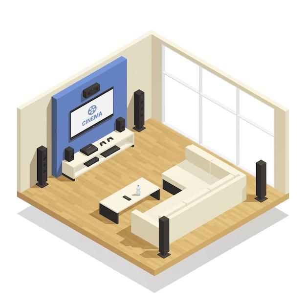 Home Cinéma Composition Isométrique Vecteur gratuit