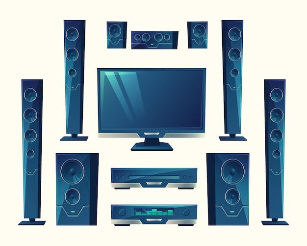 Home cinéma, système audio-vidéo, équipement acoustique, technologie stéréo. Vecteur gratuit