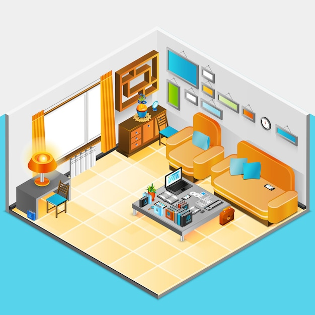 Home interior design Vecteur gratuit