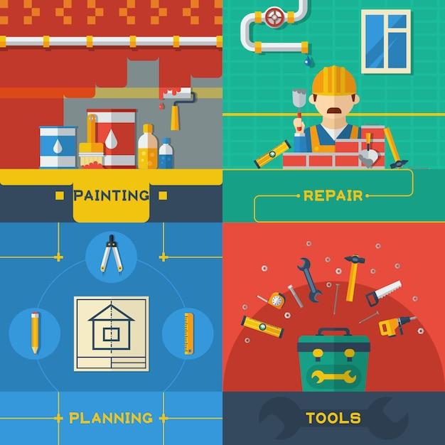 Home repair 4 flat icons composition Vecteur gratuit