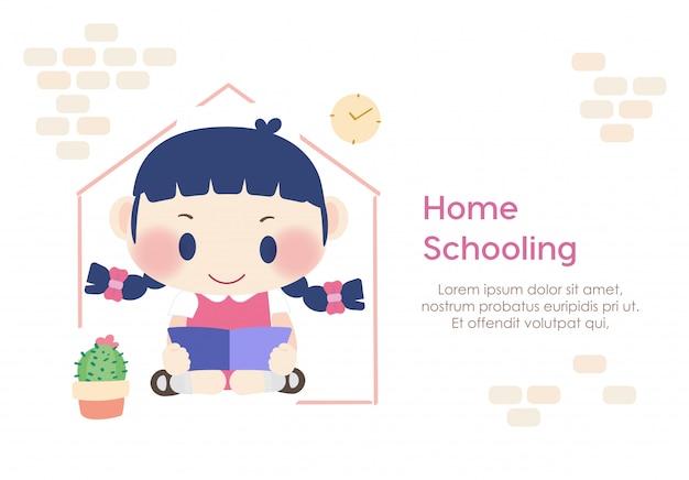 Homeschooling étudiant Enfant Lecture éducation Vecteur Premium