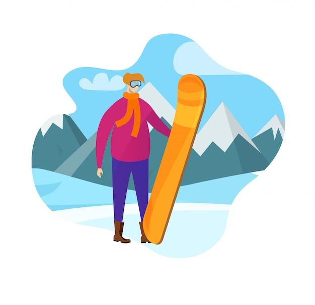 Homme adulte en tenue d'hiver tenant une planche à neige Vecteur Premium