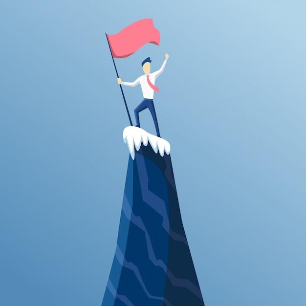 Homme D'affaires A D'abord Atteint Le Sommet De La Montagne Avec Un Drapeau. Les Gens D'affaires Ont Atteint Son Objectif. Victoire Commerciale Et Compétition. Conduit Au Succès Vecteur Premium
