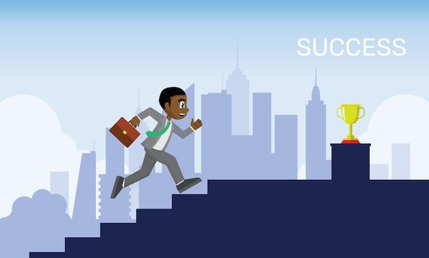 Homme d'affaires africain est en train de courir sur l'escalier aller au but. Vecteur Premium