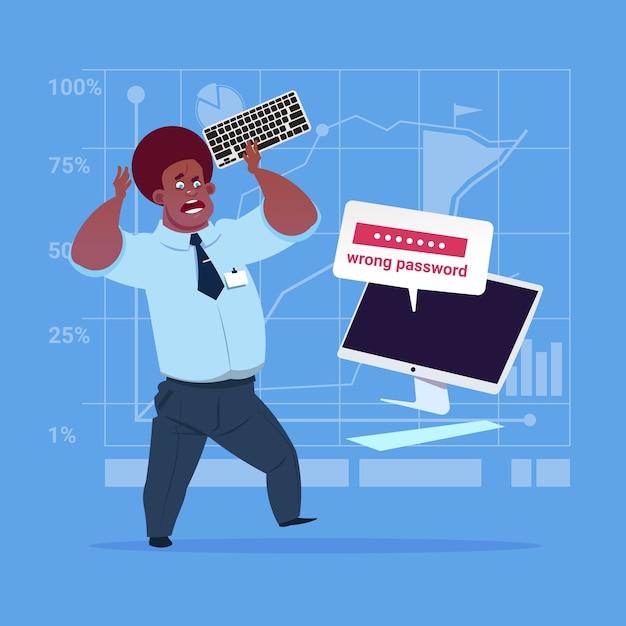 Homme d'affaires afro-américain saisie d'un mot de passe erroné Vecteur Premium