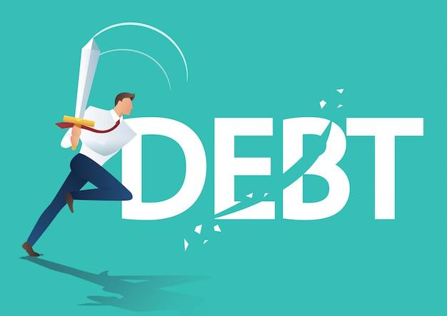 Homme d'affaires à l'aide d'épée couper la dette Vecteur Premium