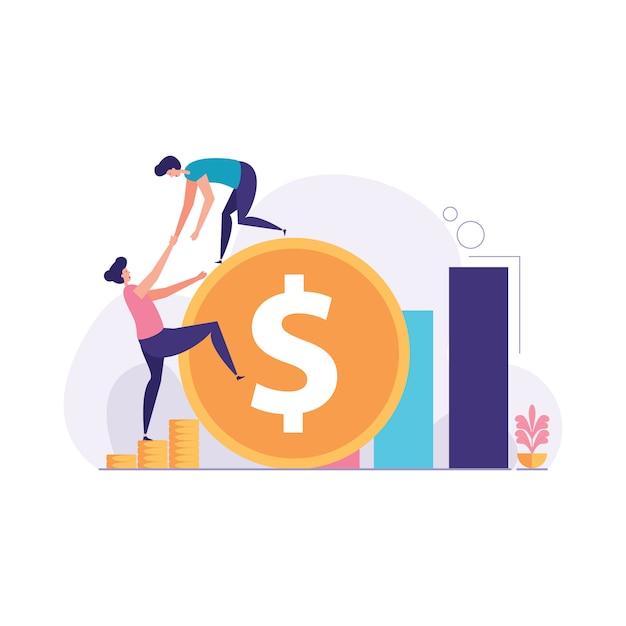 Un homme d'affaires aide à gravir une illustration du signe dollar Vecteur Premium