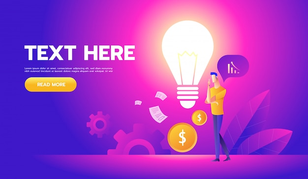 Homme d'affaires avec une ampoule propose de nouvelles idées Vecteur Premium