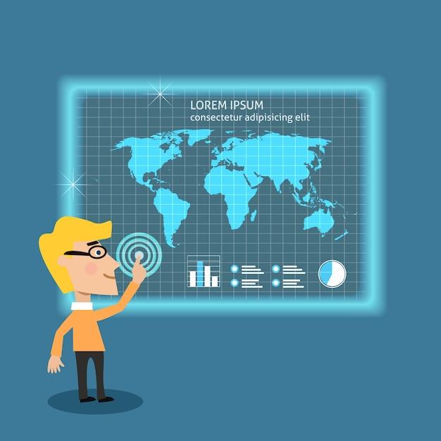 Homme d'affaires analysant de grandes données Vecteur gratuit