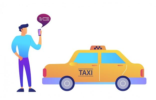 Homme D'affaires Appelle Un Taxi à L'aide Du Concept D'application Mobile. Isolé Vecteur Premium