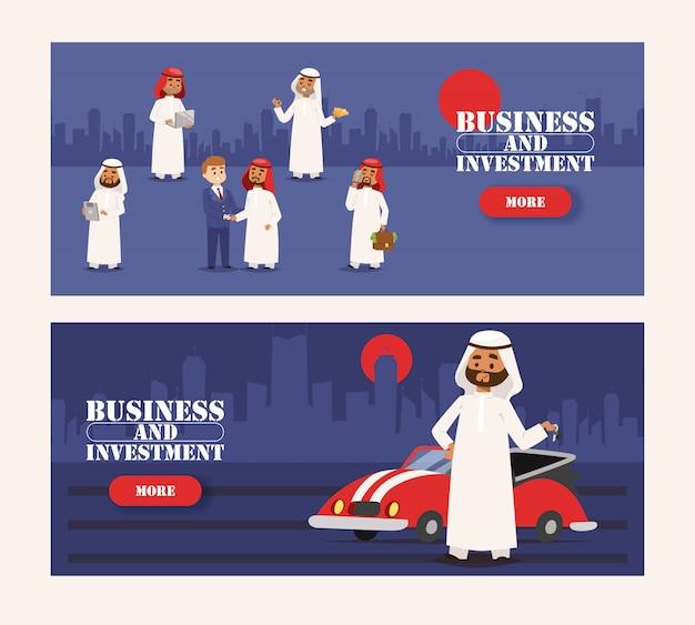 Homme d'affaires arabe portant des vêtements traditionnels et ayant rencontré la bannière de l'homme européen Vecteur Premium