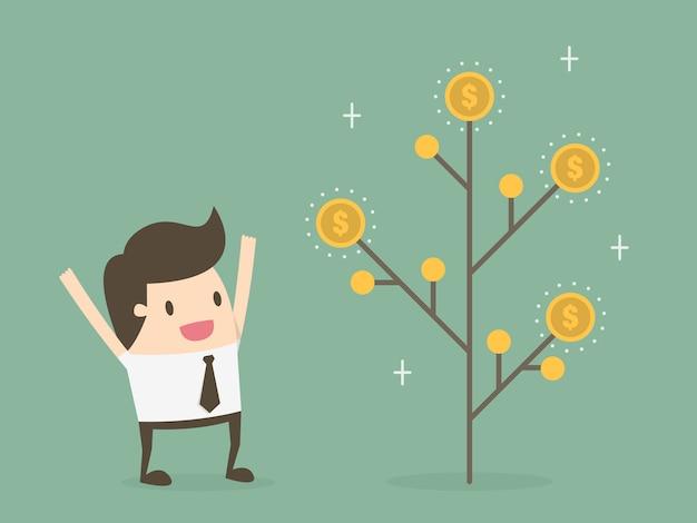 Homme d'affaires avec un arbre de pièces de monnaie Vecteur gratuit