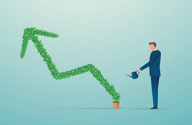 Homme affaires, arroser, plante, flèche verte Vecteur Premium