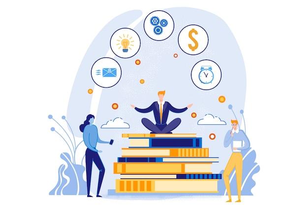 Homme d'affaires assis sur une pile de gros livres avec des icônes Vecteur Premium