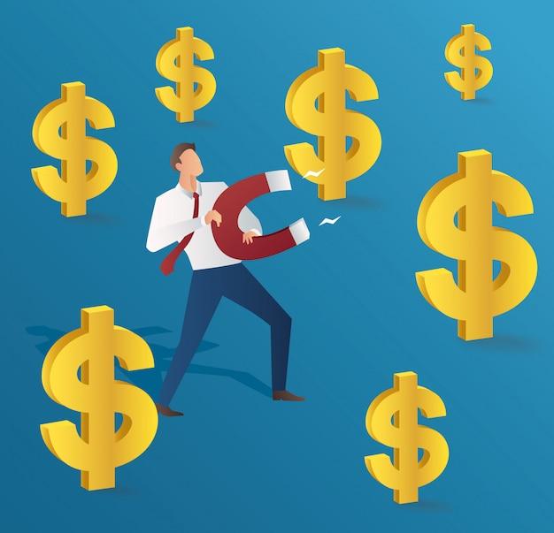 Homme d'affaires attirant le dollar d'or Vecteur Premium