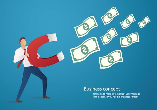 Homme d'affaires attirant l'icône de l'argent avec grand aimant Vecteur Premium