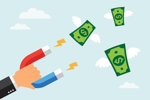 Homme D & # 39; Affaires Attirer Des Billets De Banque En Dollars Avec Un Grand Aimant Vecteur Premium