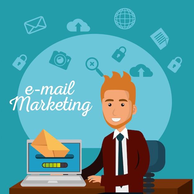 Homme d'affaires au bureau avec des icônes de marketing par courriel Vecteur gratuit