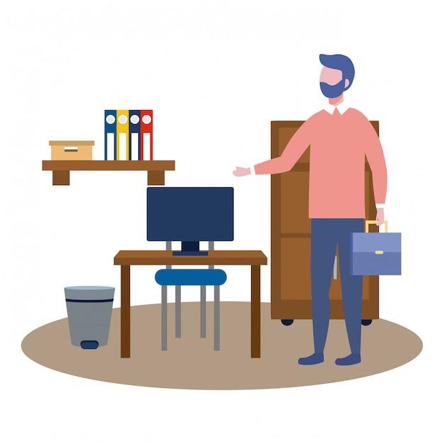 Homme d'affaires avatar de dessin animé Vecteur gratuit
