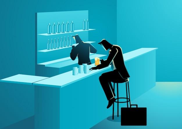 Homme d'affaires ayant des boissons dans un bar Vecteur Premium