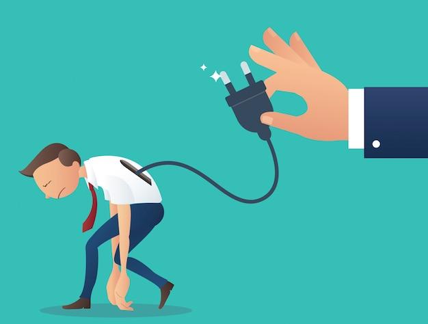 Homme D'affaires De Batterie Faible Avec Prise électrique Main Tenir Vecteur Premium