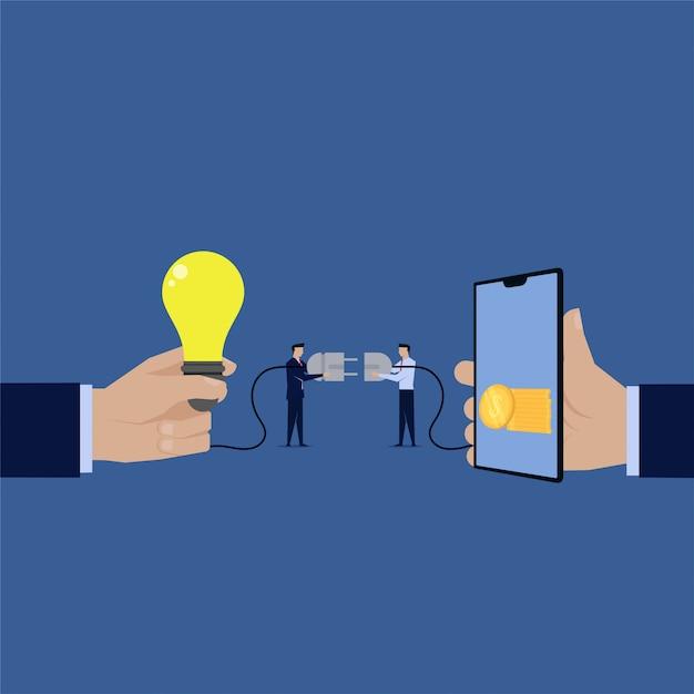 Homme d'affaires brancher l'idée de gagner de l'argent en ligne Vecteur Premium