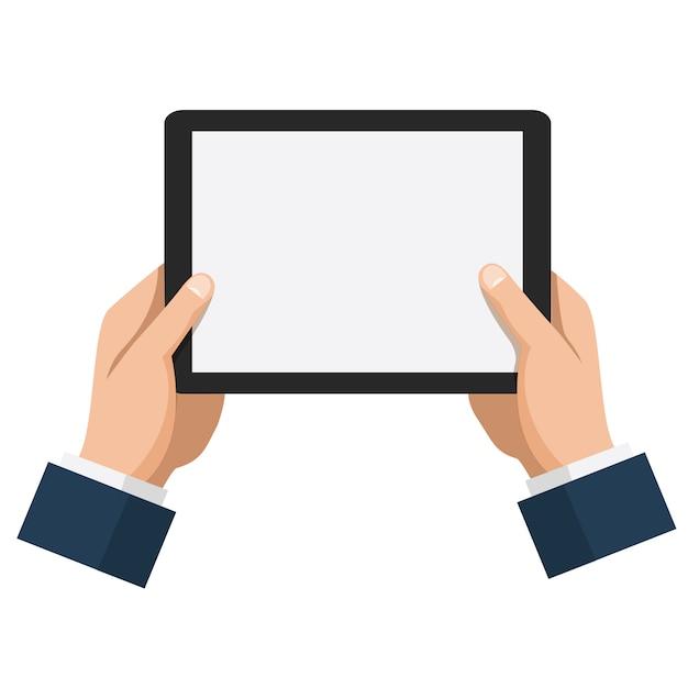 Homme D'affaires Cale Tablette Avec écran Blanc Vide Vecteur Premium