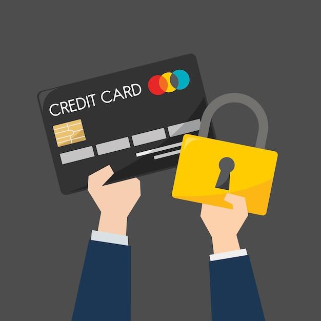 Homme d'affaires avec carte de crédit et protection Vecteur gratuit