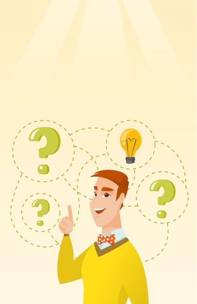 Homme D'affaires Caucasien Ayant Une Idée D'entreprise Vecteur Premium