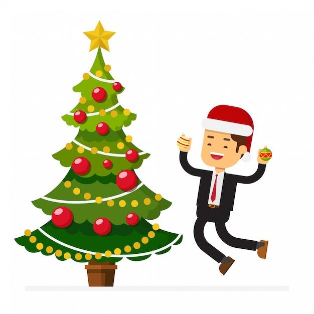 Homme D'affaires, Chapeau Noël, Sauter, Célébrer, Noël, Fête Vecteur Premium
