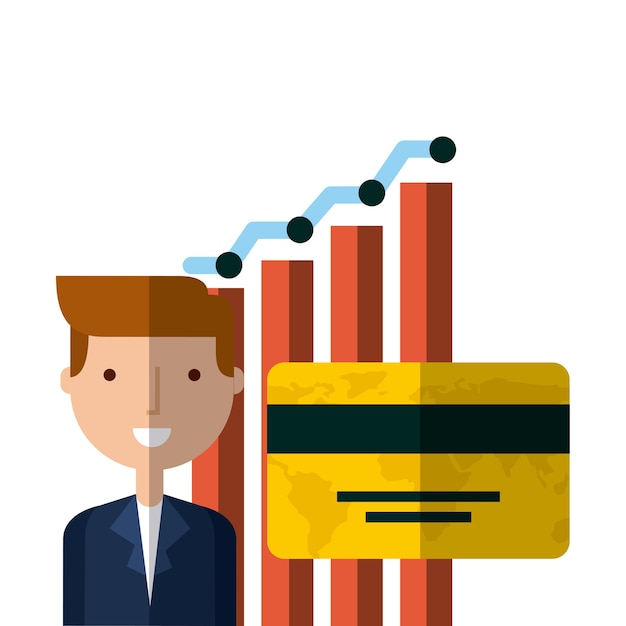 Homme d'affaires et charte graphique Vecteur Premium