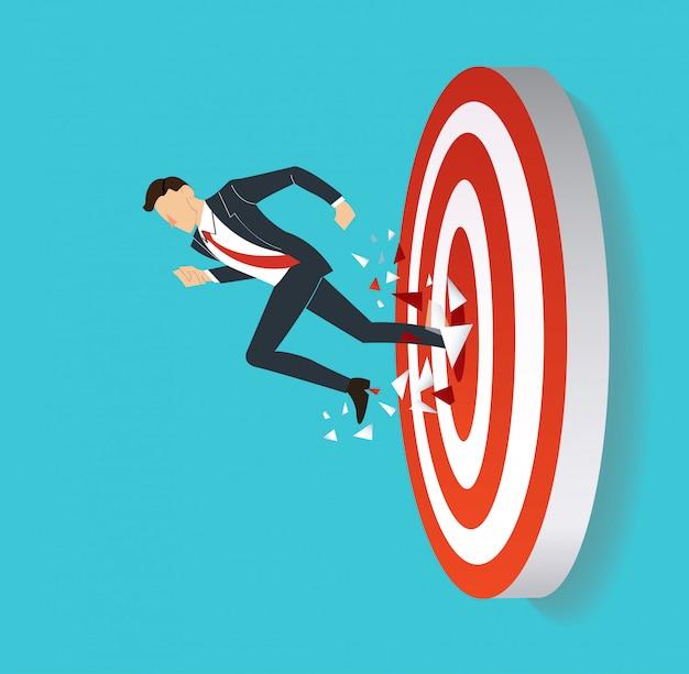 Homme d'affaires, cible de tir à l'arc à succès Vecteur Premium