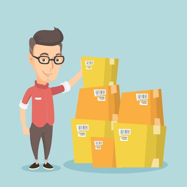 Homme d'affaires en cochant les cases dans l'entrepôt. Vecteur Premium