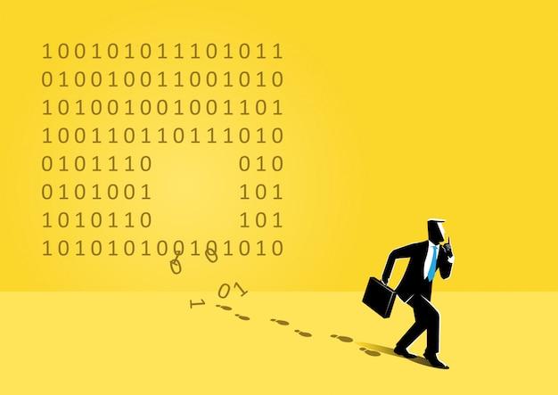 Homme d'affaires et code binaire Vecteur Premium