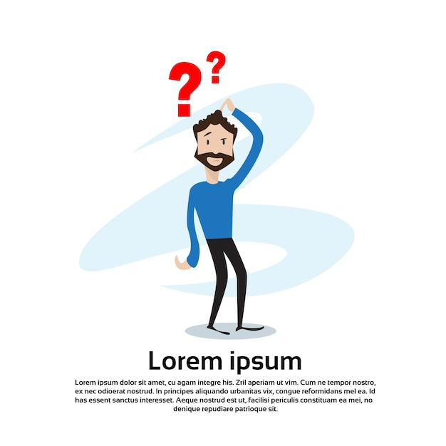 Homme d'affaires avec le concept de problème pondering question mark Vecteur Premium