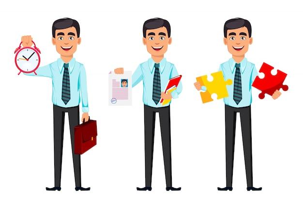 Homme d'affaires confiant, ensemble de trois poses Vecteur Premium