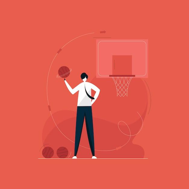 Homme D & # 39; Affaires Confiant Jouant Au Concept De Basket-ball Vecteur Premium