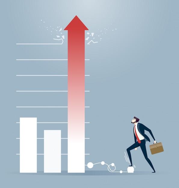Homme d'affaires continuer à gonfler un diagramme. concept de marché boursier Vecteur Premium