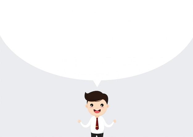 Homme affaires, conversation homme d'affaires parlant avec fond de bulle de dialogue Vecteur Premium