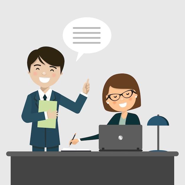 Homme affaires, conversation, secrétaire, bureau Vecteur Premium