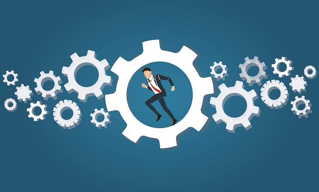 Homme Affaires, Courant, Roue, équipement Vecteur Premium