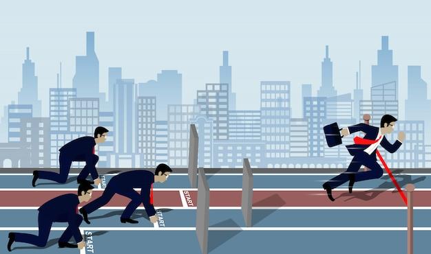 Homme d'affaires courir à la ligne d'arrivée à la réussite en affaires concept Vecteur Premium