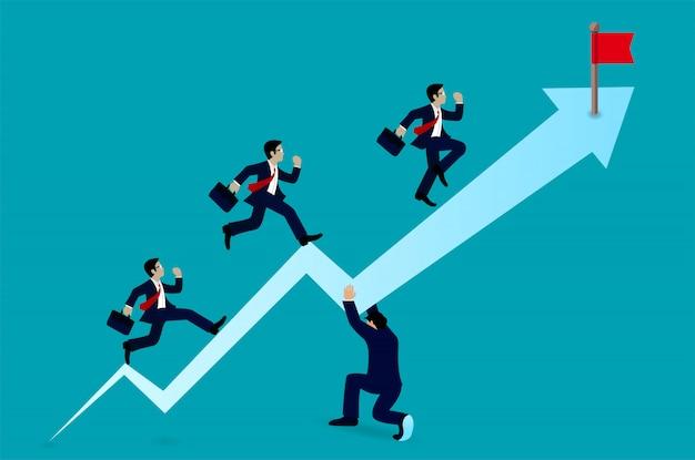Homme d'affaires en cours d'exécution sur la flèche vers le but Vecteur Premium