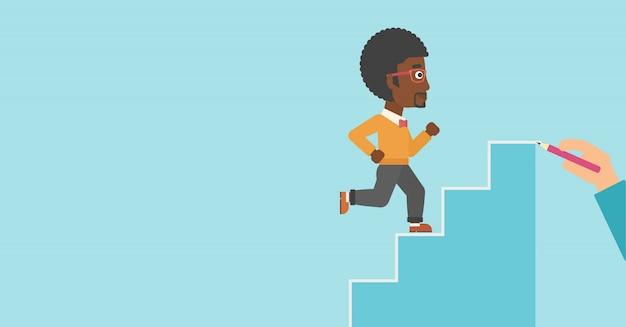 Homme d'affaires en cours d'exécution illustration vectorielle à l'étage. Vecteur Premium