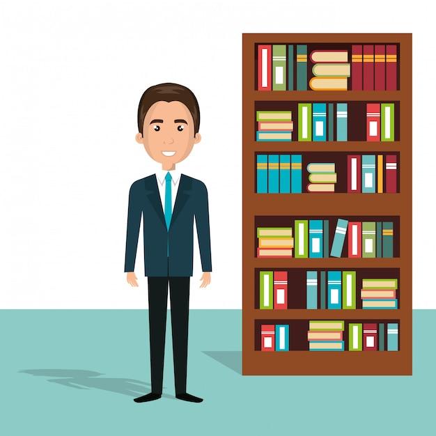 Homme D'affaires Dans Le Personnage D'avatar De La Bibliothèque Vecteur gratuit